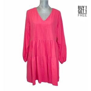 Fancyinn Ladies Pink Long sleeve Baby Doll Dress L